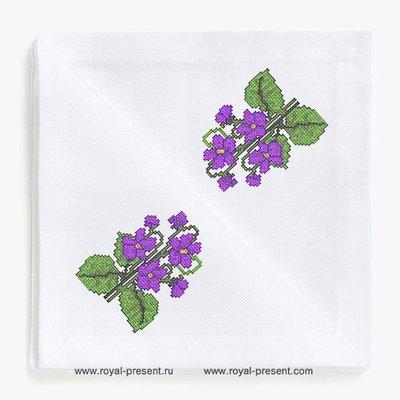 Дизайн для машинной вышивки крестом Фиалки