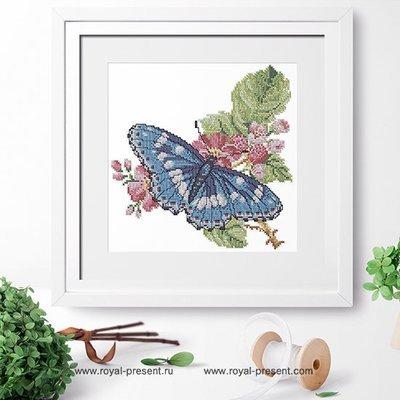 Дизайн для машинной вышивки крестом Бабочка на ветке