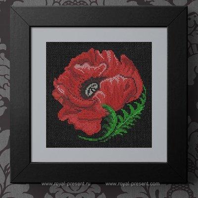 Дизайн для машинной вышивки крестом Цветок мака