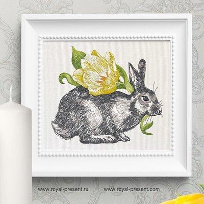 Дизайн вышивки Весенний Кролик с тюльпаном