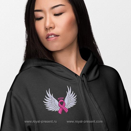 Бесплатный дизайн машинной вышивки Розовая лента с крыльями RPE-1265