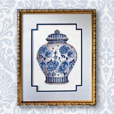 Дизайн для машинной вышивки крестом Китайская ваза
