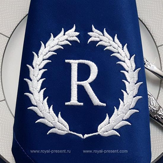 Дизайн машинной вышивки Венок для монограммы - 2 размера RPE-986-002