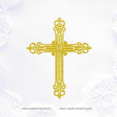 Дизайн для машинной вышивки Золотой крест - 6 размеров