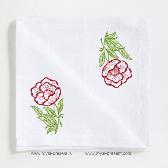 Дизайн для машинной вышивки бесплатно Цветок мака RPE-489