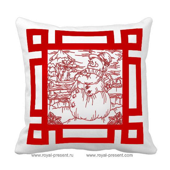 Дизайн для машинной вышивки Снеговик бесплатно RPE-541