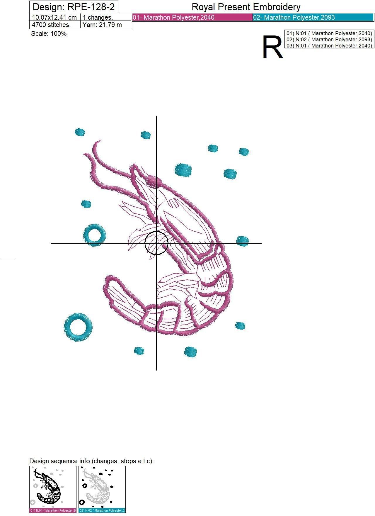 Бесплатный дизайн машинной вышивки Креветка - 3 размера