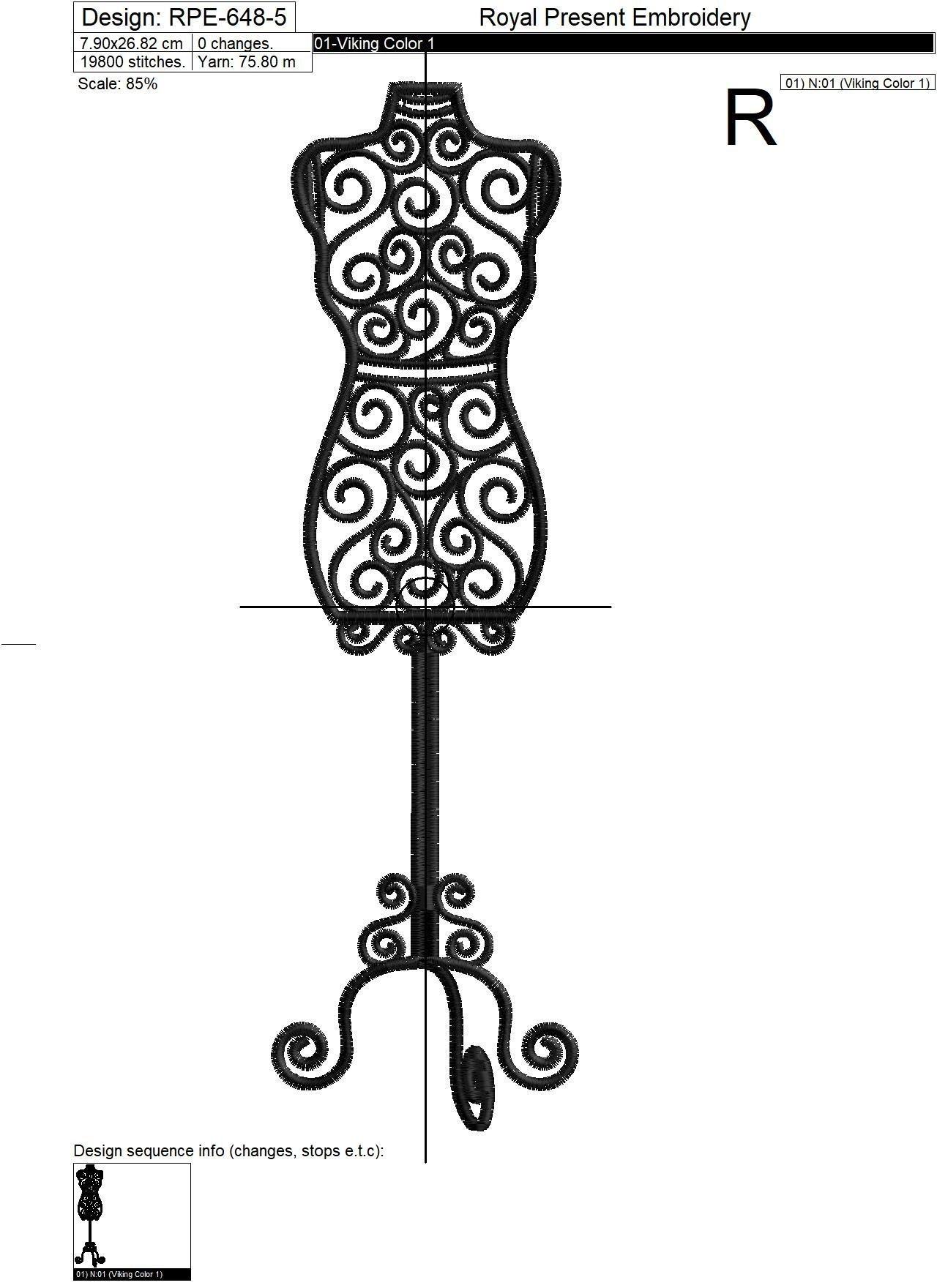 Дизайн машинной вышивки Винтажный манекен - 6 размеров