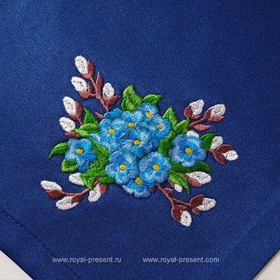Дизайн машинной вышивки Букетик незабудки и верба