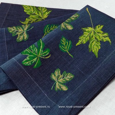 Дизайн для машинной вышивки крестом Набор из листьев