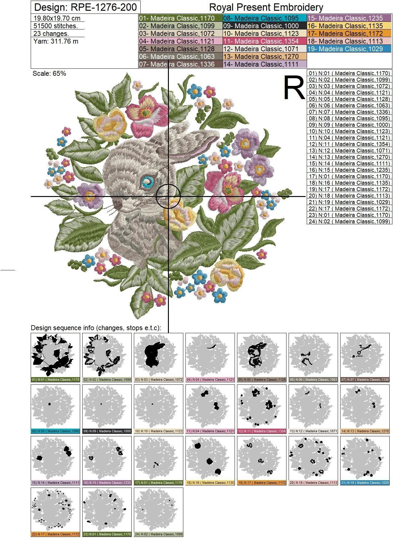Дизайн машинной вышивки Кролик в цветах - 4 размера