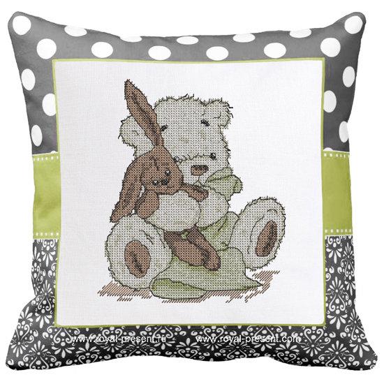 Медвежонок и Зайка Дизайн машинной вышивки крестом - 2 размера RPE-1283