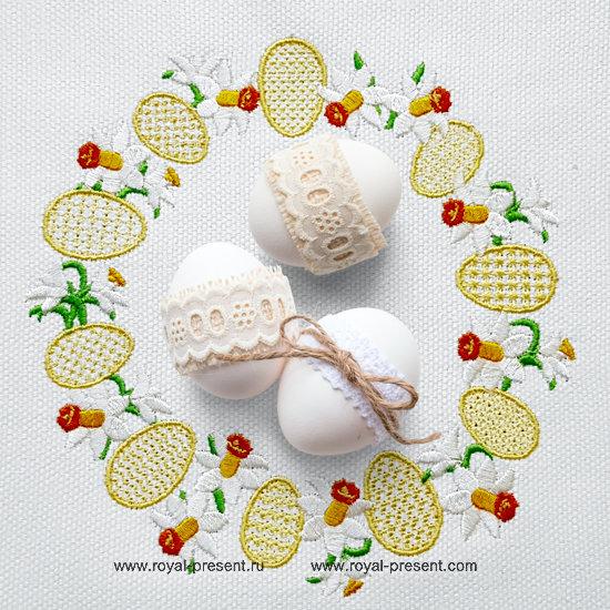 Пасхальный Дизайн машинной вышивки Венок Нарциссов RPE-1281