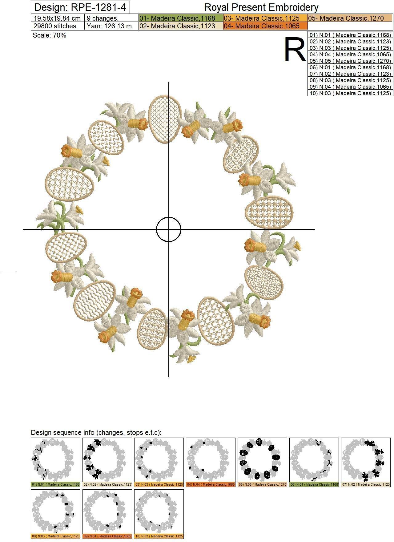 Пасхальный Дизайн машинной вышивки Венок Нарциссов