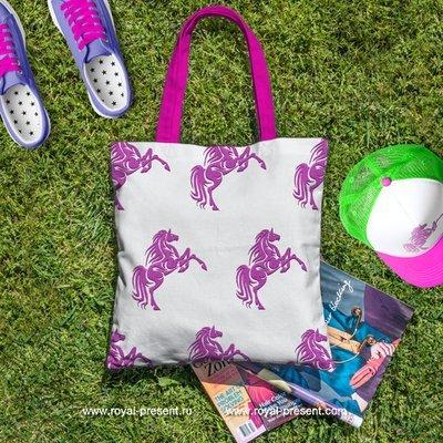 Дизайн для машинной вышивки Розовый Конь