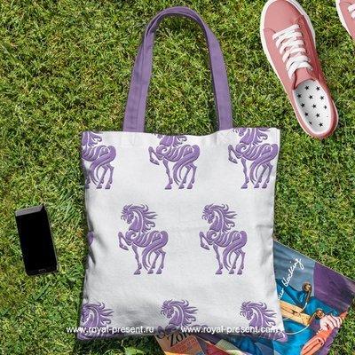 Дизайн для машинной вышивки Пурпурный Конь