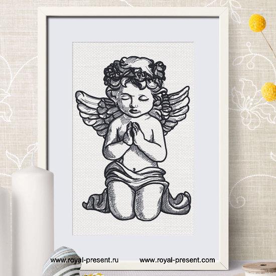 Дизайн машинной вышивки Молящийся Ангел - 5 размеров RPE-1288