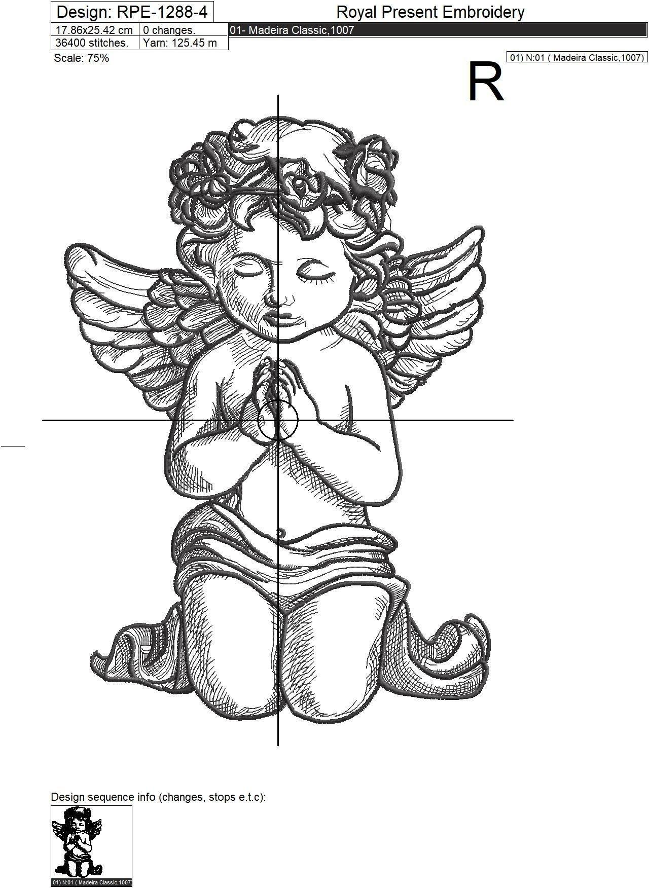 Дизайн машинной вышивки Молящийся Ангел - 5 размеров