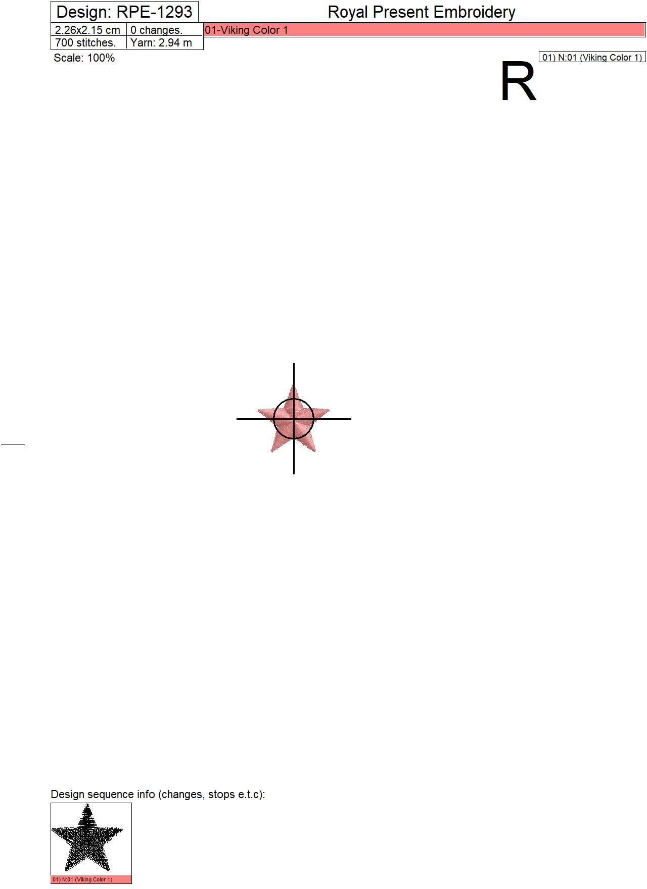 Бесплатный дизайн машинной вышивки Звезда - 3 размера