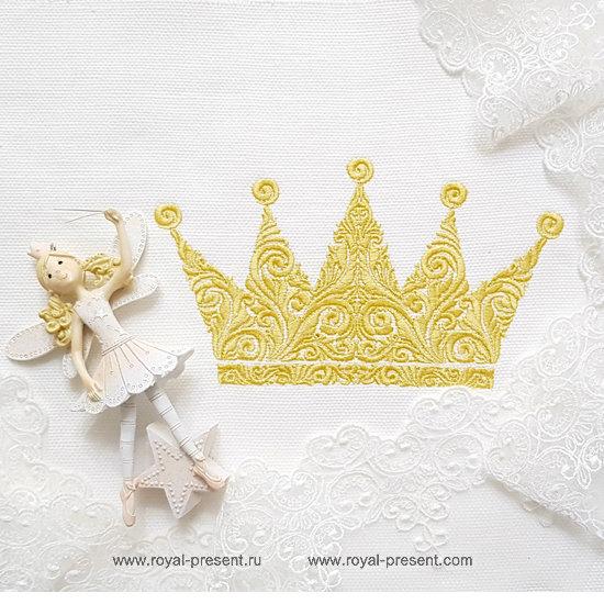 Орнаментальная Корона Дизайн машинной вышивки - 4 размера RPE-1289