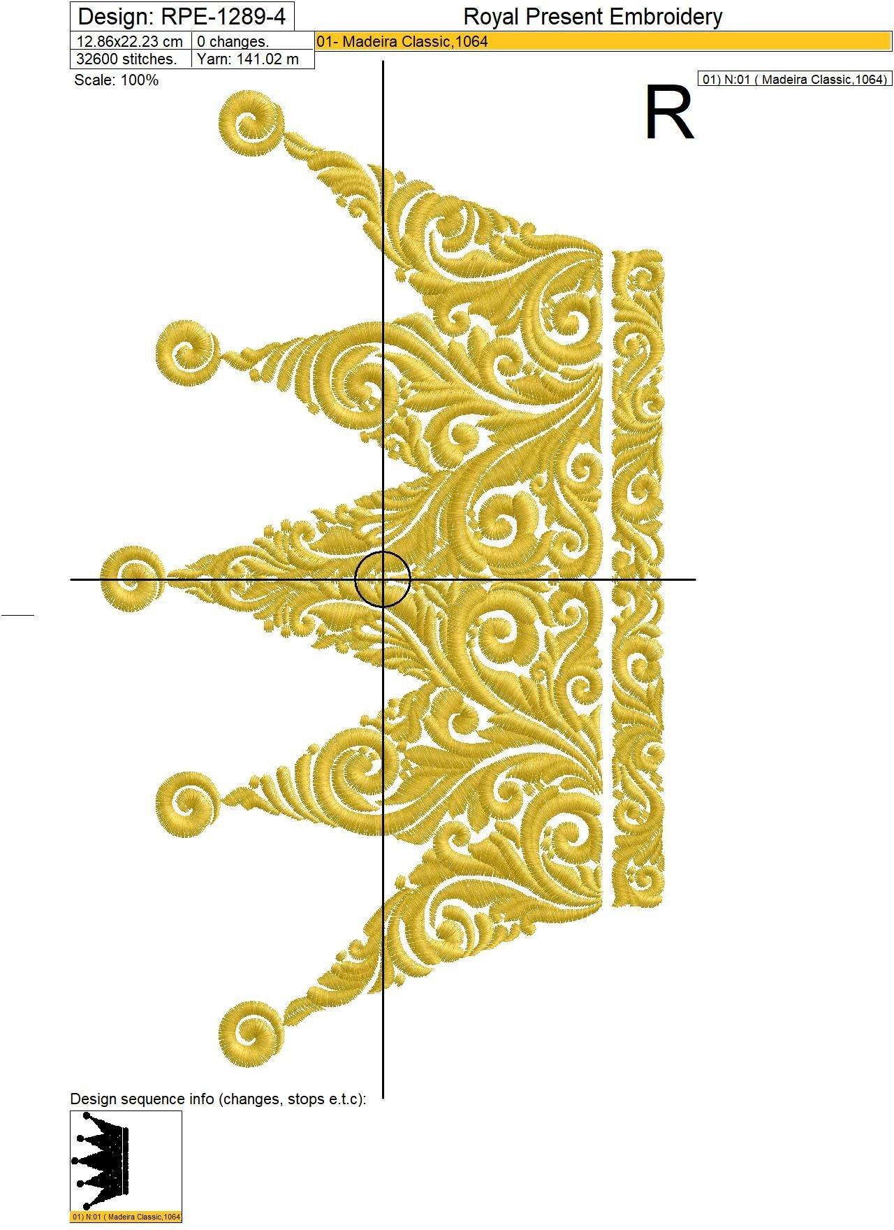 Орнаментальная Корона Дизайн машинной вышивки - 4 размера