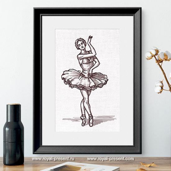 Дизайн машинной вышивки Балерина из Лебединого Озера - 7 размеров RPE-1296