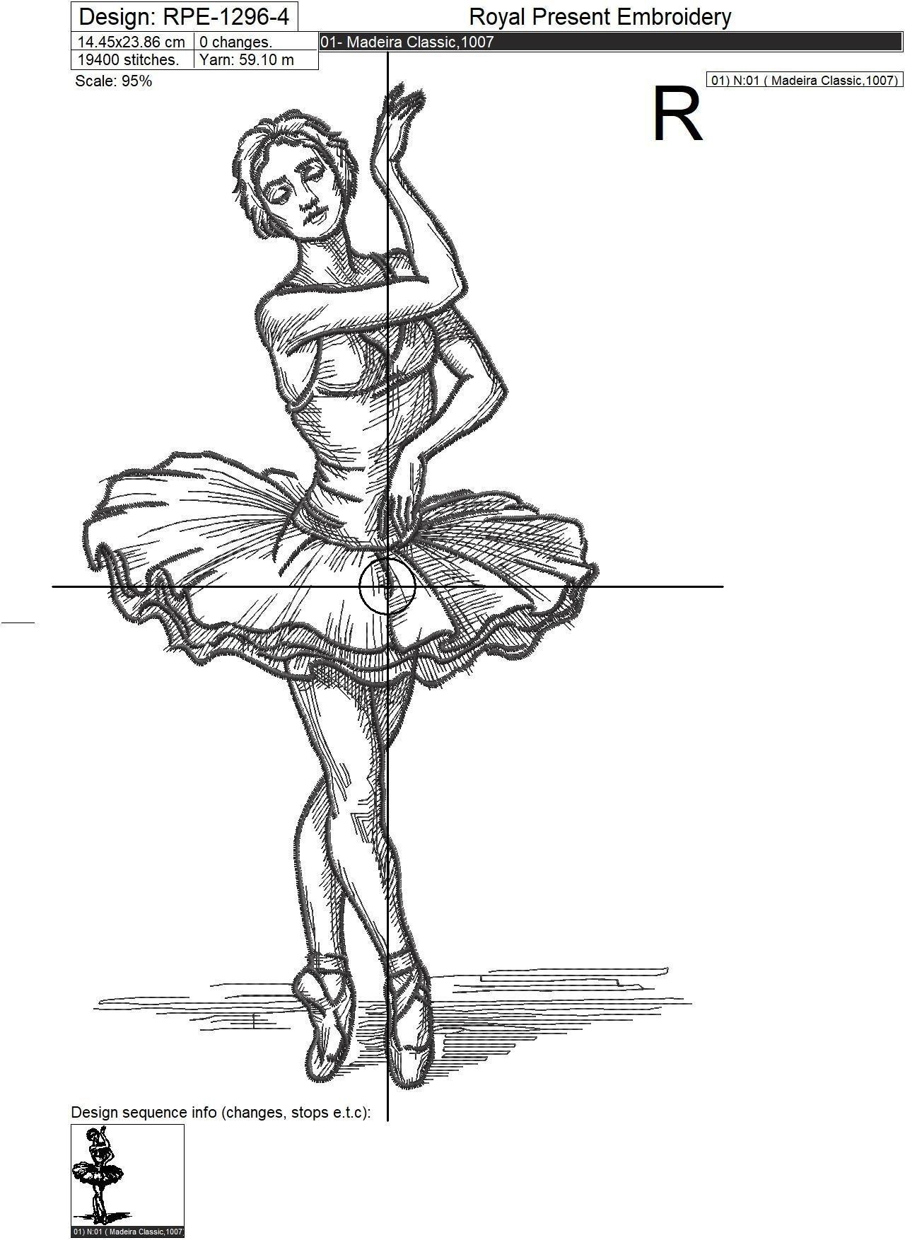 Дизайн машинной вышивки Балерина из Лебединого Озера - 7 размеров