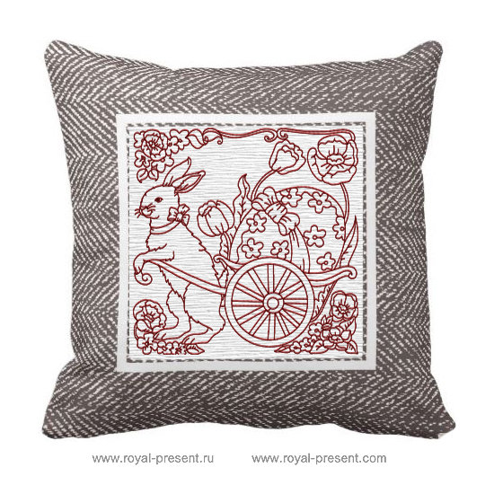 Дизайн машинной вышивки Пасхальный кролик в стиле RedWork