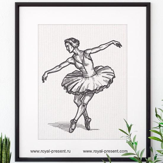 Балерина дизайн машинной вышивки  - 7 размеров RPE-1299