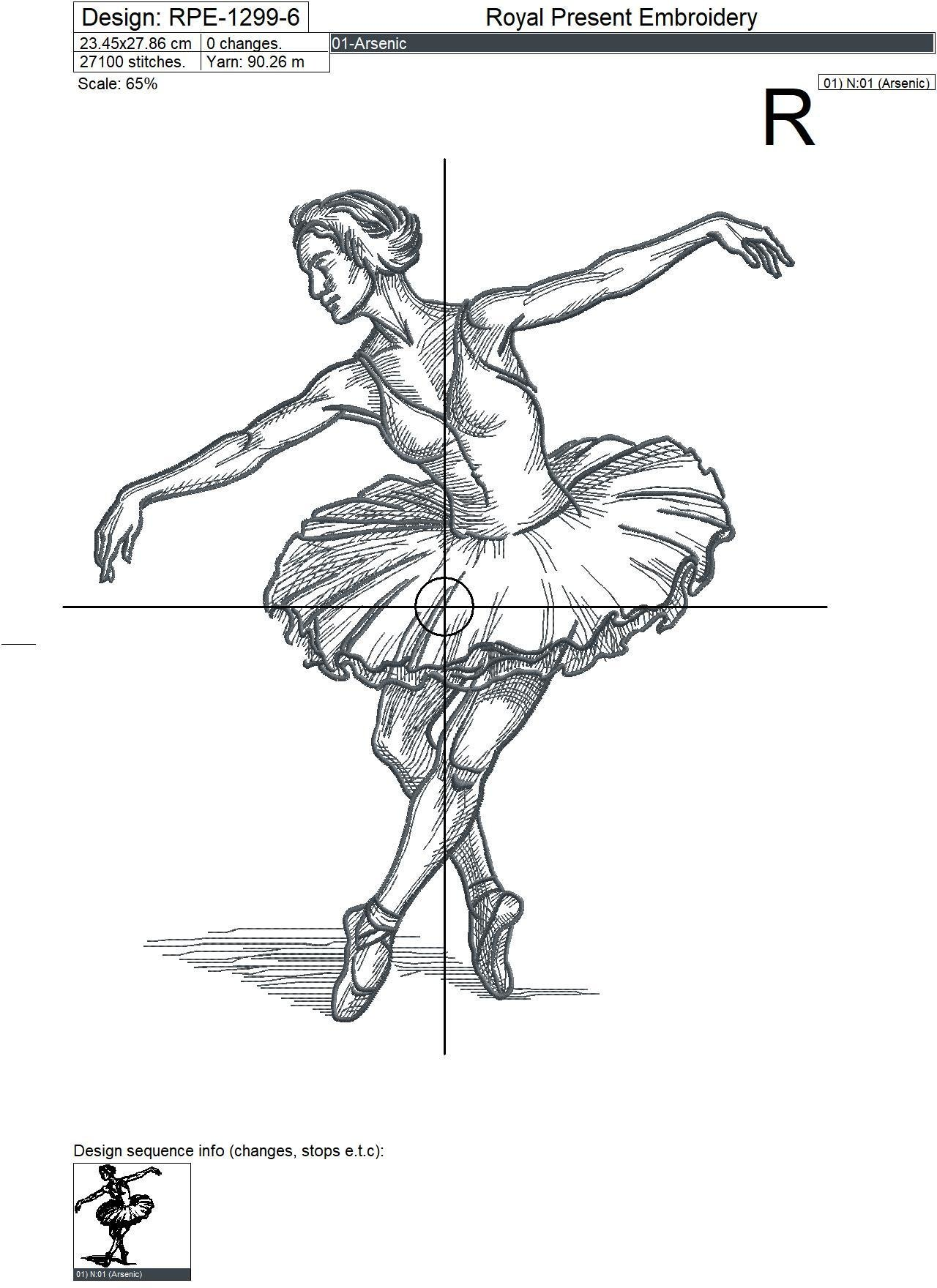 Балерина дизайн машинной вышивки  - 7 размеров