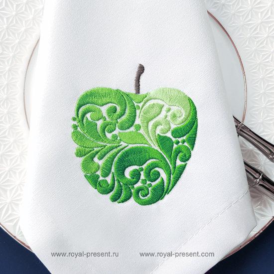 Орнаментальный Дизайн машинной вышивки Яблоко - 2 размера