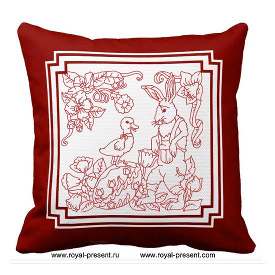 Дизайн машинной вышивки Пасхальный Кролик и Утенок