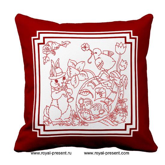 Дизайн машинной вышивки Пасхальный Кролик с дудочкой