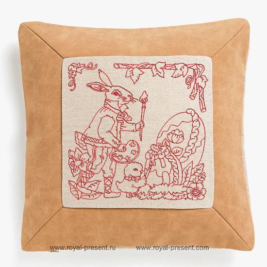 Дизайн машинной вышивки Пасхальный Кролик с кисточкой
