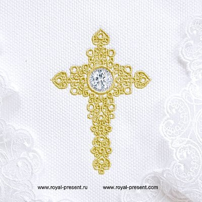 Дизайн машинной вышивки Ажурный Крест для стразов