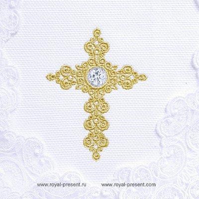 Дизайн машинной вышивки Крестик для крестин