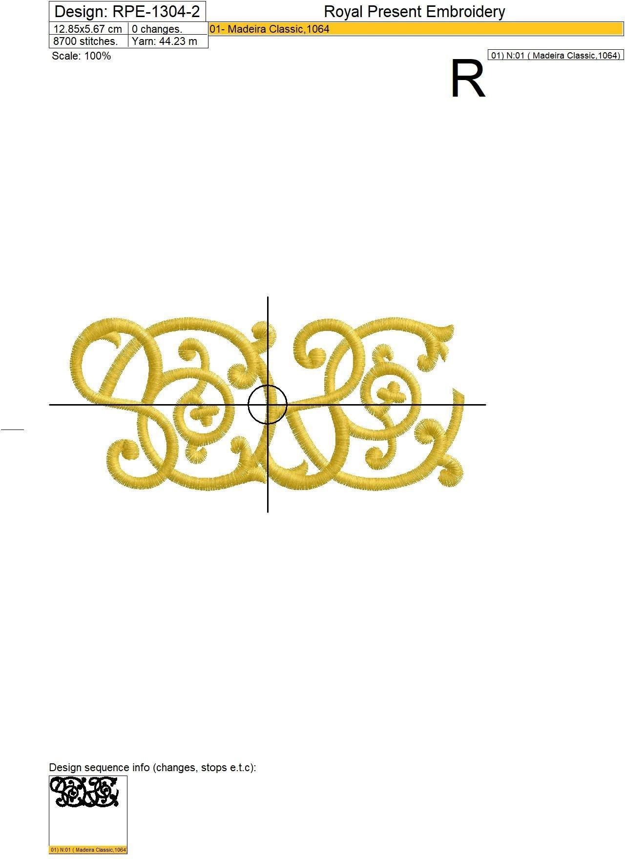 Витиеватый бордюр Бесплатный дизайн машинной вышивки - 2 размера