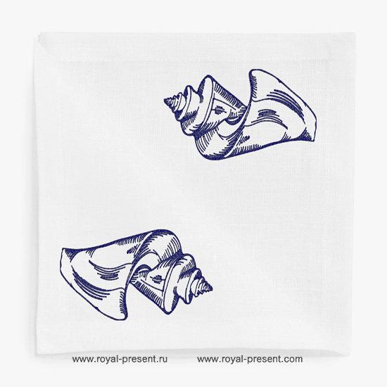 Дизайн машинной вышивки Винтажная ракушка