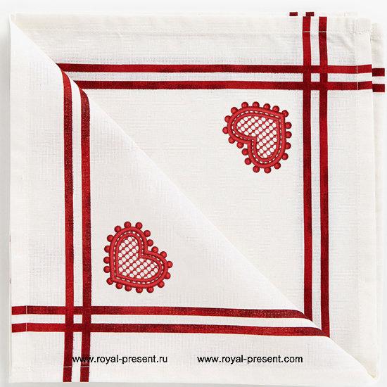 Дизайн для машинной вышивки бесплатно Ажурное сердечко RPE-389