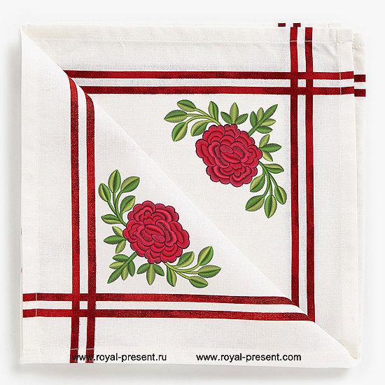 Дизайн для машинной вышивки бесплатно Роза RPE-642-free