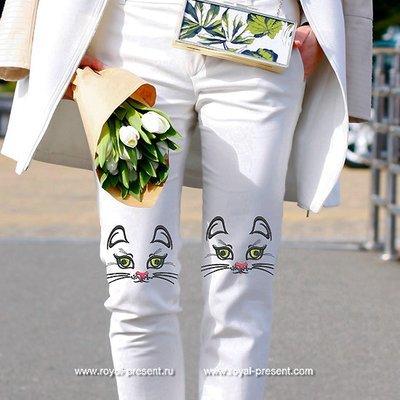 Дизайн машинной вышивки Мордочка Кошки - 2 размера