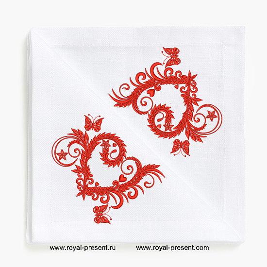 Дизайн для машинной вышивки Сердце из цветов и бабочек RPE-024