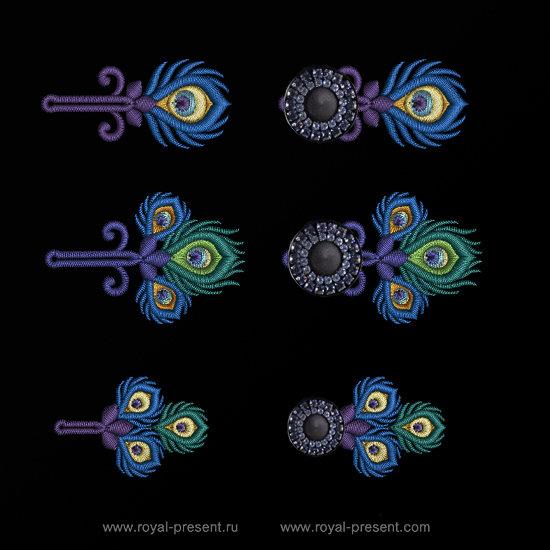 Три дизайна машинной вышивки Петли для пуговиц Павлин RPE-1314