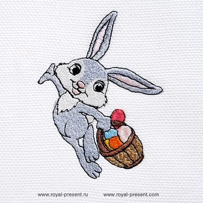 Дизайн машинной вышивки Пасхальный кролик несет корзинку