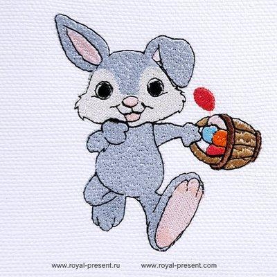 Дизайн машинной вышивки Пасхальный кролик с корзинкой