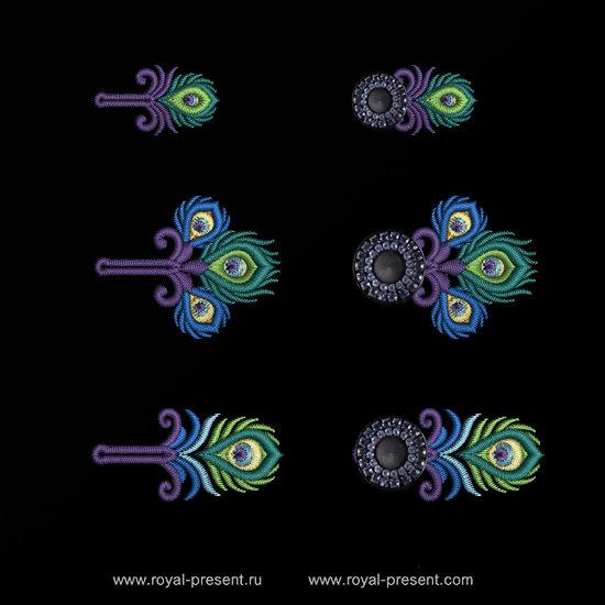 Набор дизайнов вышивки Петли для пуговиц Павлин RPE-1314-01