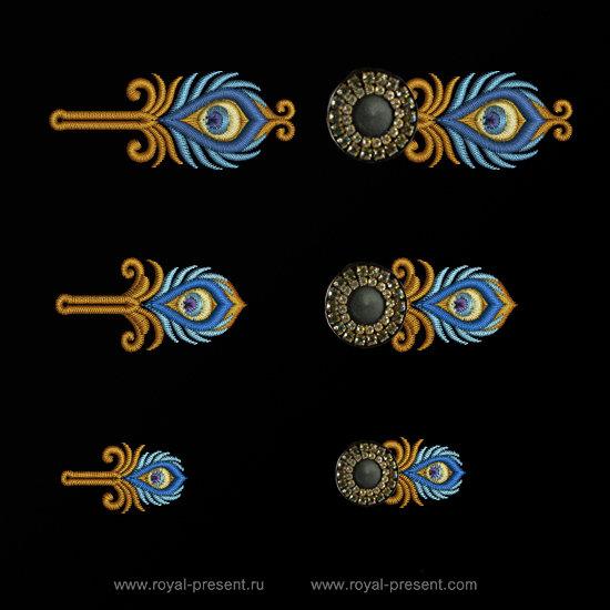 Набор дизайнов вышивки Петли для пуговиц Золотой Павлин RPE-1314-02