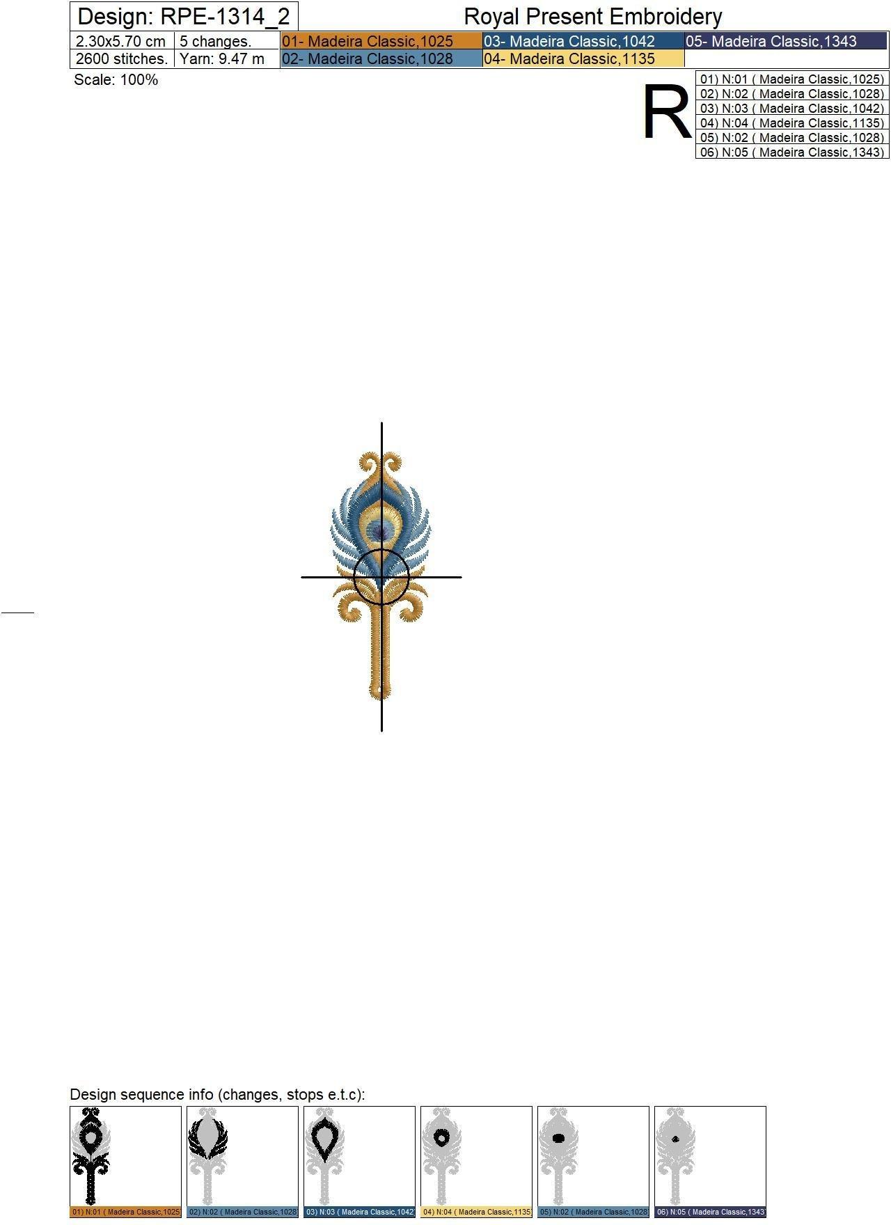 Набор дизайнов вышивки Петли для пуговиц Золотой Павлин