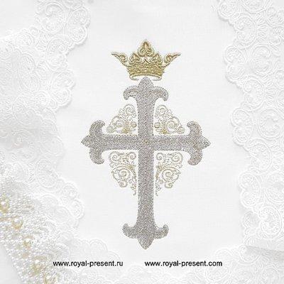 Дизайн машинной вышивки Крест с короной и орнаментом - 3 размера