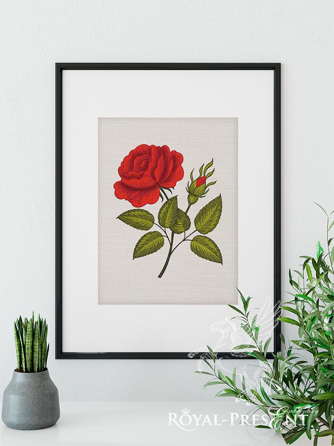 Дизайн машинной вышивки Роза в стиле гравюры викторианской эпохи - 4 размера